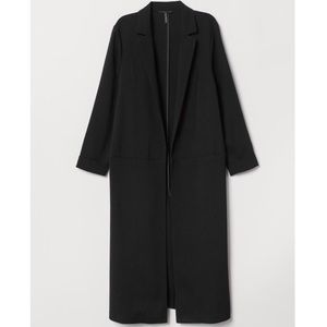 H&M navy blue boyfriend straight-cut coat